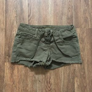 Arizona Jeans Olive Green Lace-up Shorts